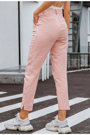 Haleigh Plaid Checkprint Tailored Casual Trousers-Woven Trends