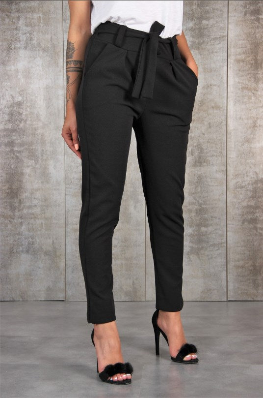 Hannah Belted Casual Office Trousers Woven Trends