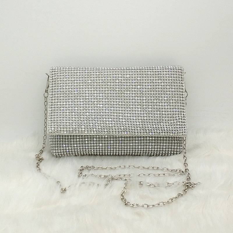 Valery Rhinestone Clutch Evening Bag - Woven Trends