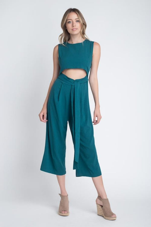 Sleeveless Tie Jumpsuit With Slit Midriff - woven-trends