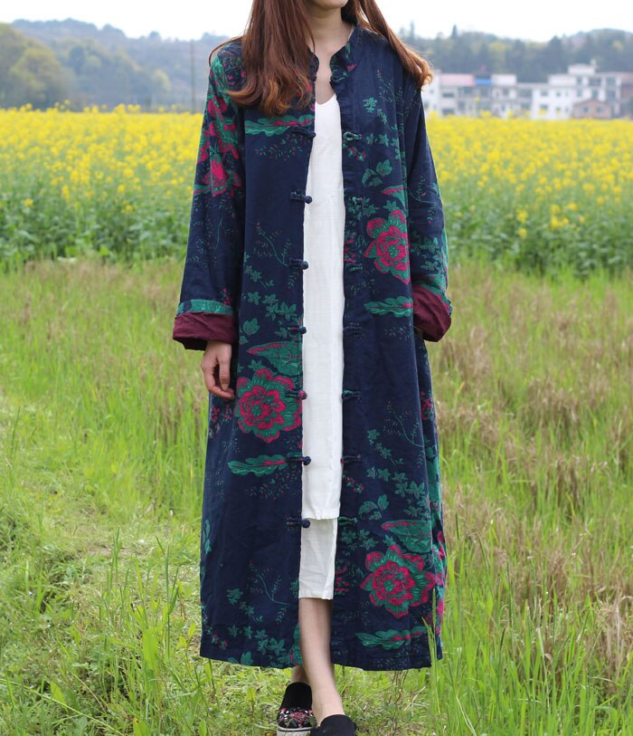 Marisa Cardigan Floral Long Jacket Duster Trench Coat - woven-trends
