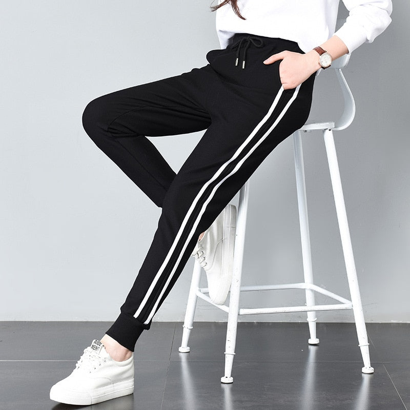 Leandra Double Striped Jogger Sweatpants - Woven Trends
