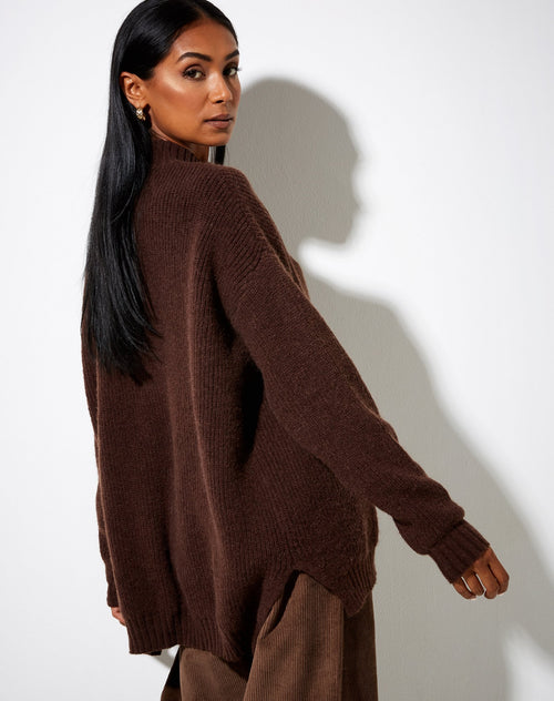 Natalie Knit Dark Chocolate Jumper Top