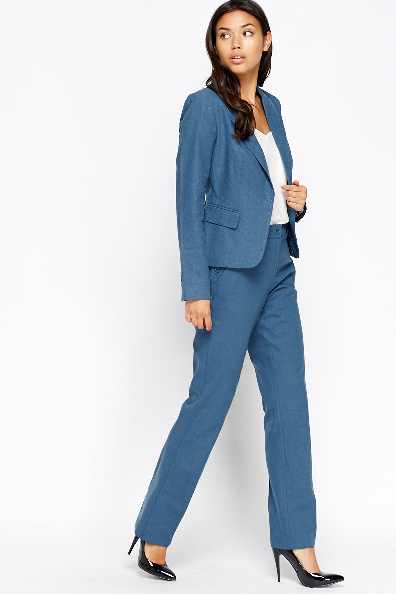 Gabriela Mid Blue Formal Fitted Trousers - Woven Trends