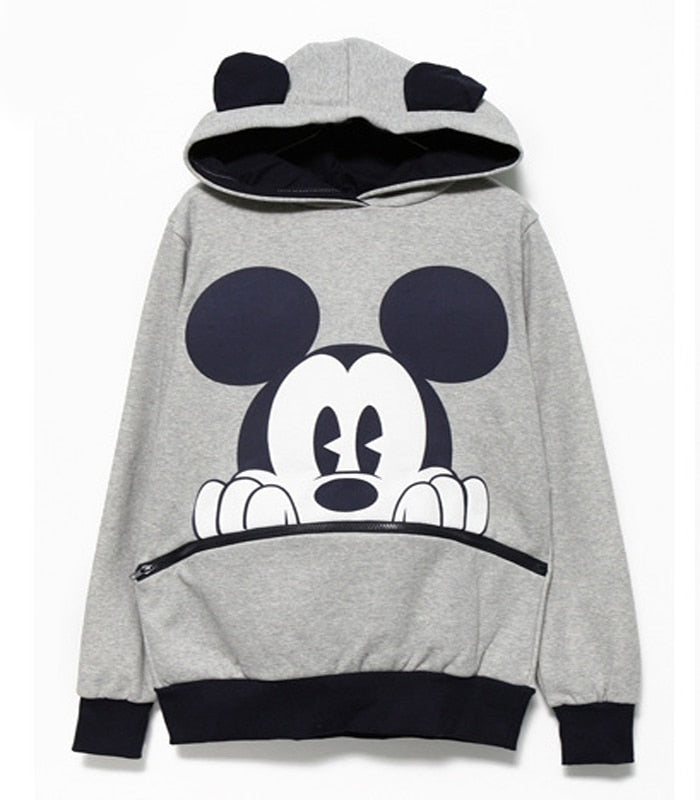 Aly Mickey Mouse Print Hooded Sweatshirt