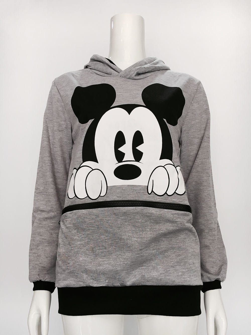 Aly Mickey Mouse Print Hooded Sweatshirt Woven Trends
