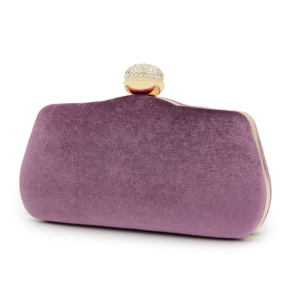 Suede Detail Pearl Drop Clutch Bag