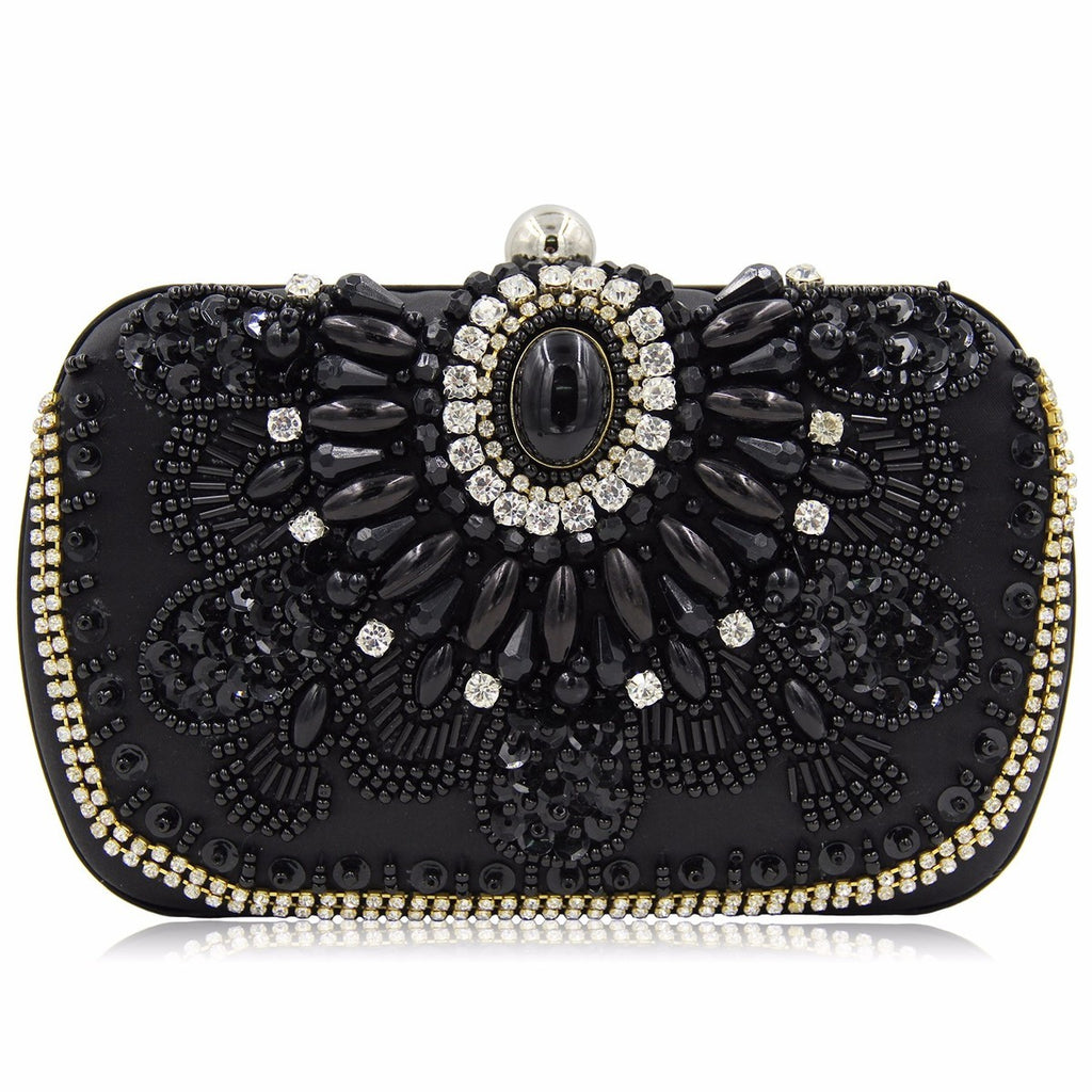 Pearl Beaded Evening Bridal Clutch Bag
