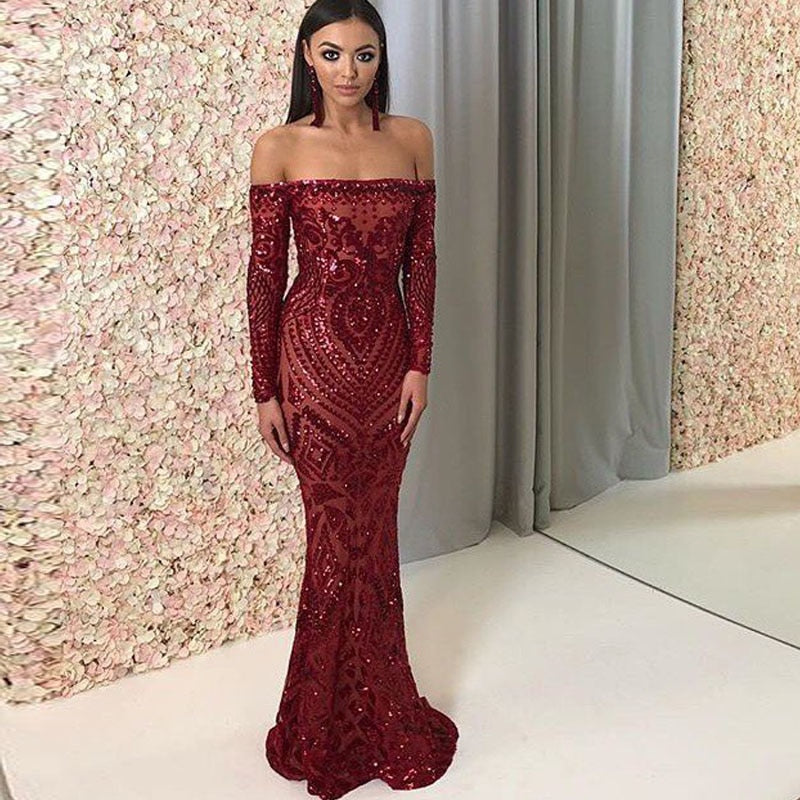 Jackie Off Shoulder Sequin Detailed Floor Length Maxi Bodycon Dress
