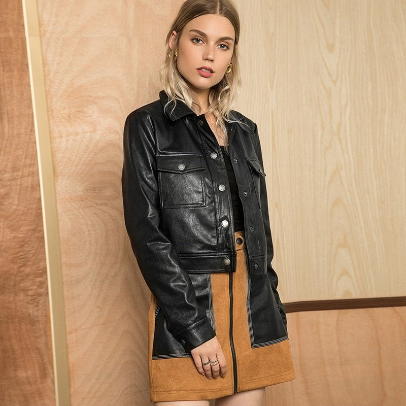Single Breasted Full Sleeve Biker Jacket - woven-trends