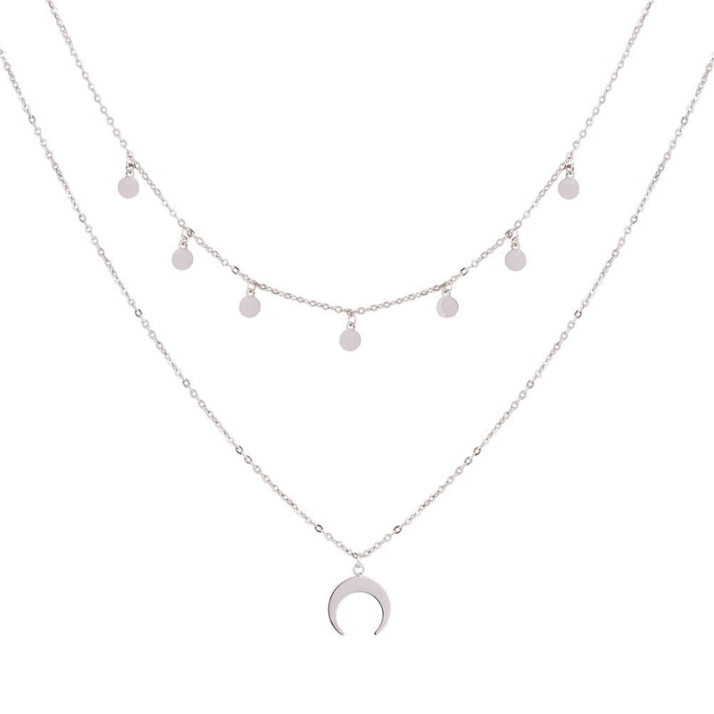 Jazmine Crescent Moon Silver Necklace - Woven Trends