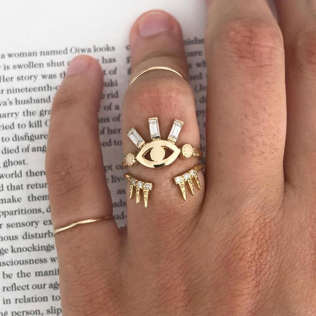 Michaela Personality Crystal Eye and Lashes Ring - Woven Trends