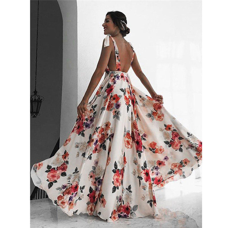 Corey Floral Print V Neck Backless Dress