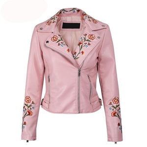 Anabella Floral Embroidery Faux Leather Jacket Woven Trends