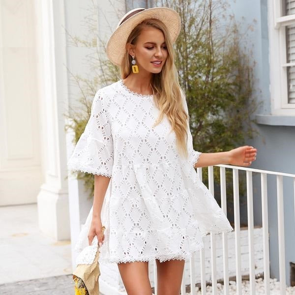 Lace Overlay Loosely Fitted Mini Dress