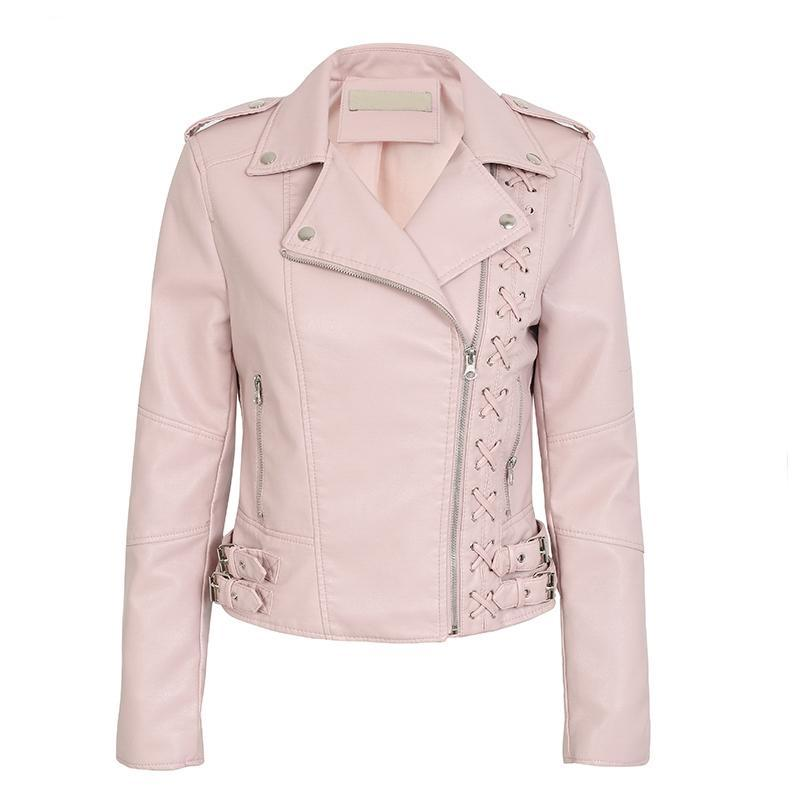 Lace Up PU Leather Biker Jacket - Leather Biker Jacket Coats & Jackets - Woven Trends Fashion Collection