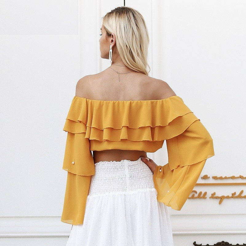 Pearl Detail Ruffle Crop Top - Ruffle Detail Long Sleeve Blouse - woven-trends