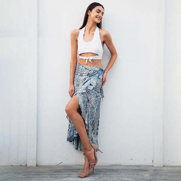 Catalina Wrap Boho Maxi Skirt Woven Trends