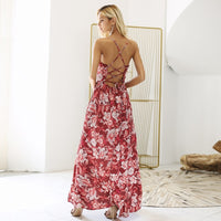 Backless Lace Up Floral Maxi Dress - Floral Print V Neck Chiffon Dress Woven Trends