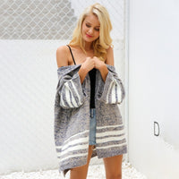 Knitted Hooded Loose Sweater - Striped Hooded Cardigan Woven Trends