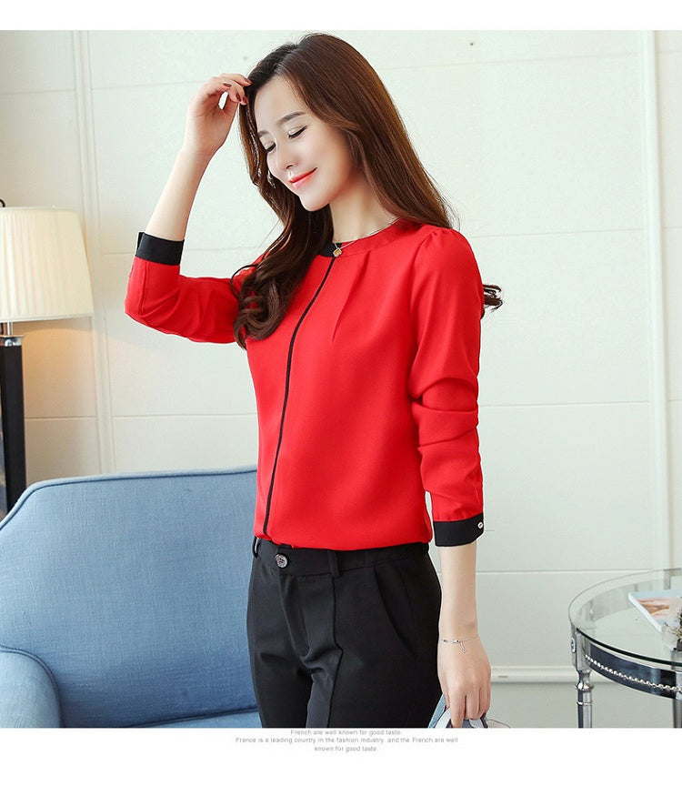 Paula Long Sleeved Office Lady Blouse