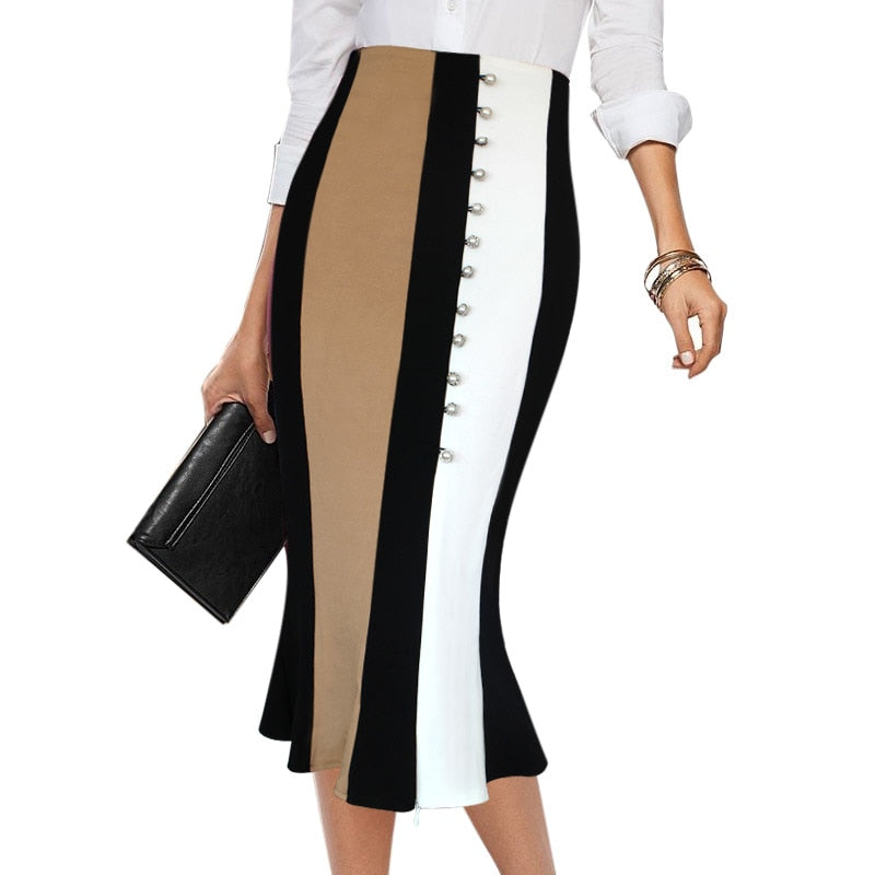 Mermaid Flared Fishtail Patchwork Casual Wear Skirt Woven Trends