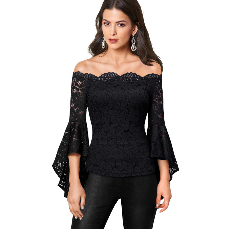 Gemma Full Sleeve Lace Scallop Blouse Woven Trends