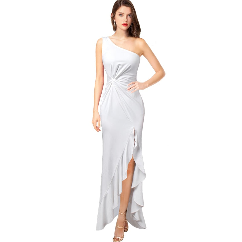 Angelina One Shoulder Ruched Twist Knot Asymmetric Maxi Dress Woven Trends