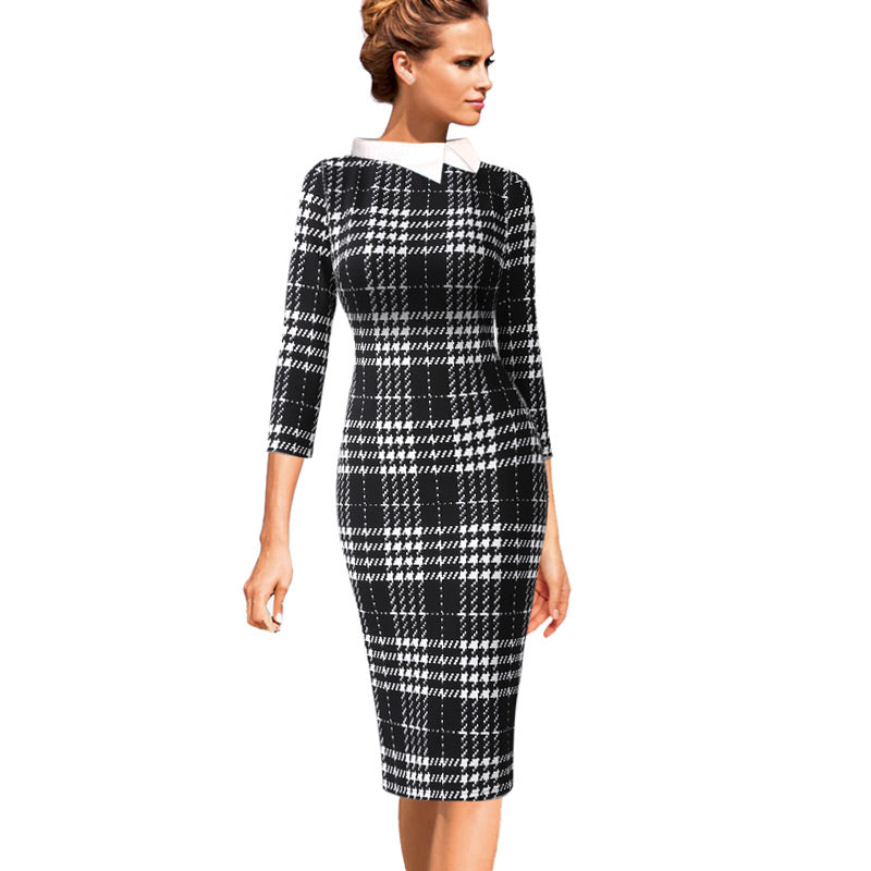 Collar Block Contrast Bodycon Dress Woven Trends