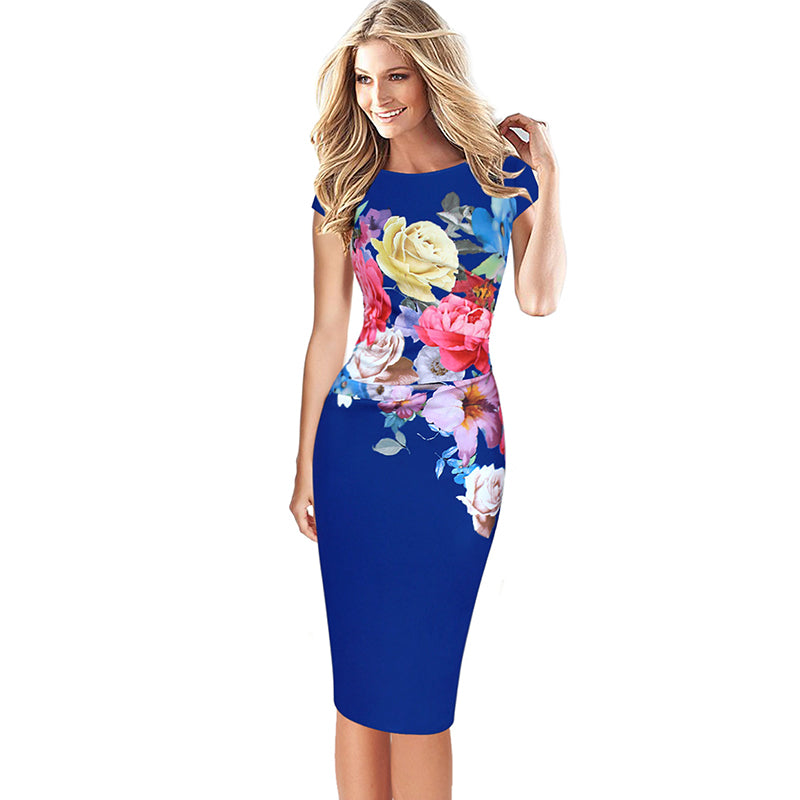 Aisha Ruched Cap Sleeve Floral Evening Dress Woven Trends