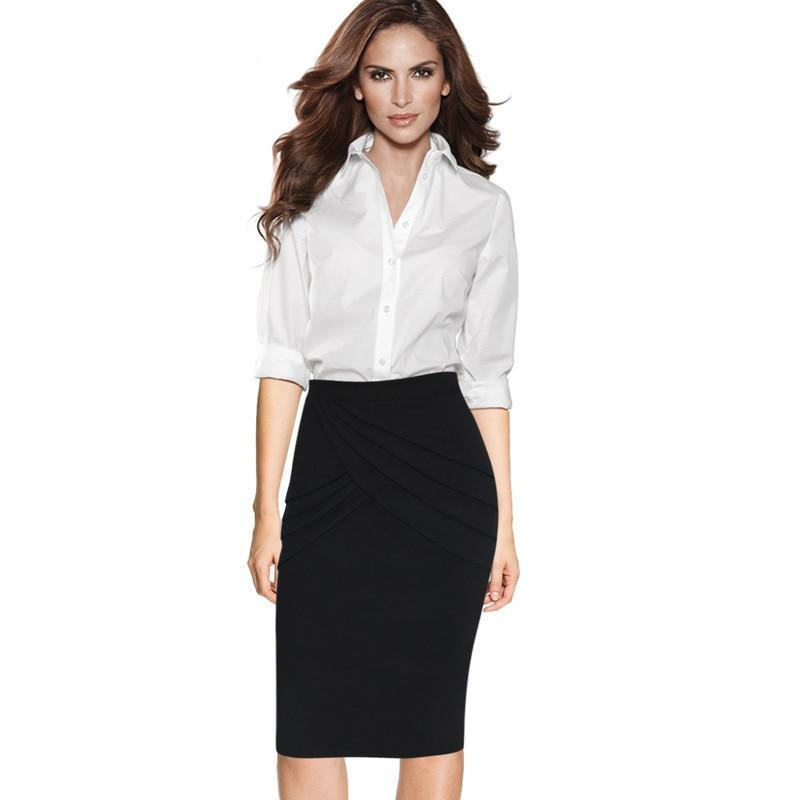 Stephanie Pleated Ruched High Waist Slim Fit Office Skirt - woven-trends
