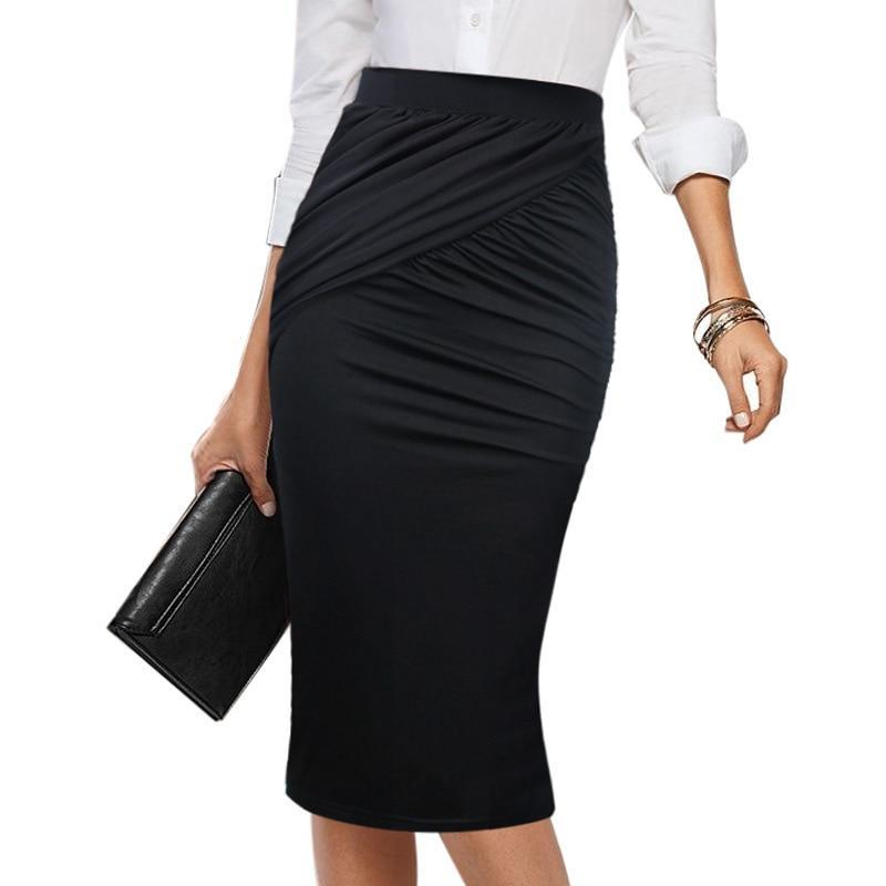 Melissa Elegant Ruched Pleat High Waist Office Casual Skirt - woven-trends
