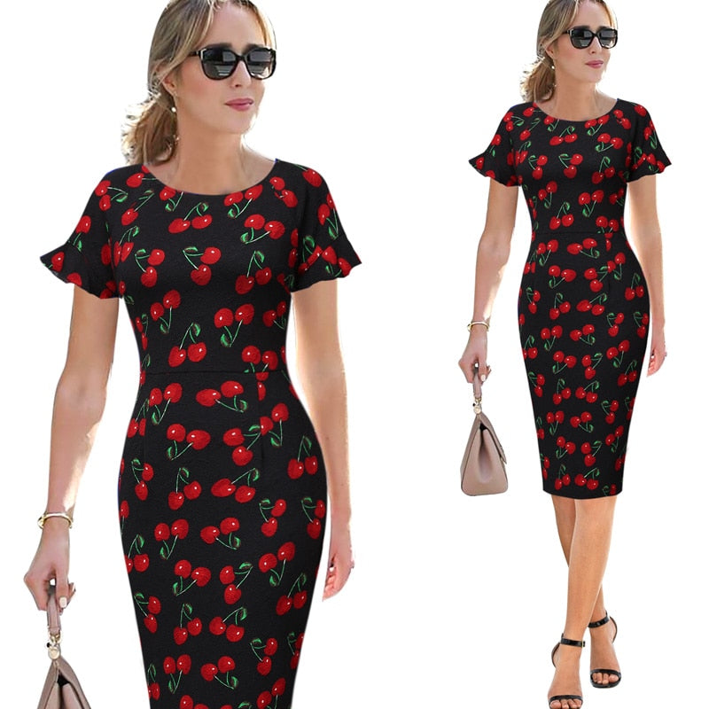 Butterfly Sleeve Fitted Waist Midi Dress Woven Trends