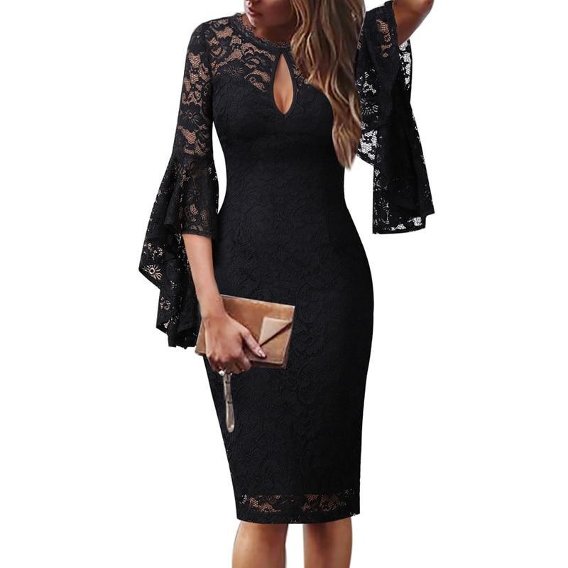 Mariah Femme Sexy Keyhole Front Lace Ruffle Flare Sleeve Dress - woven-trends