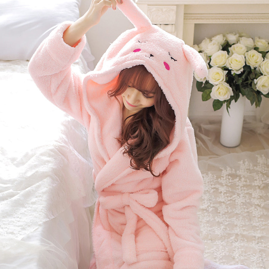 Rose Rabbit Hood Detail Bathrobe