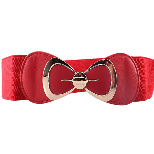 Faux Leather Effect Elastic Stretch Waistband Bowknot Buckle Belt - Woven Trends