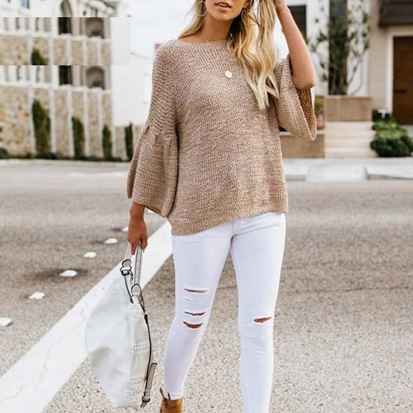 Kaley Bell Sleeve Loose Knitted Jumper - woven-trends