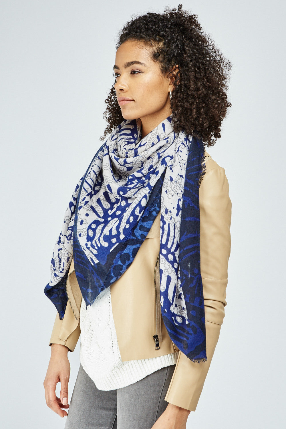 Adwoa All Over Mix Abstract Pattern Print Scarf - Woven Trends
