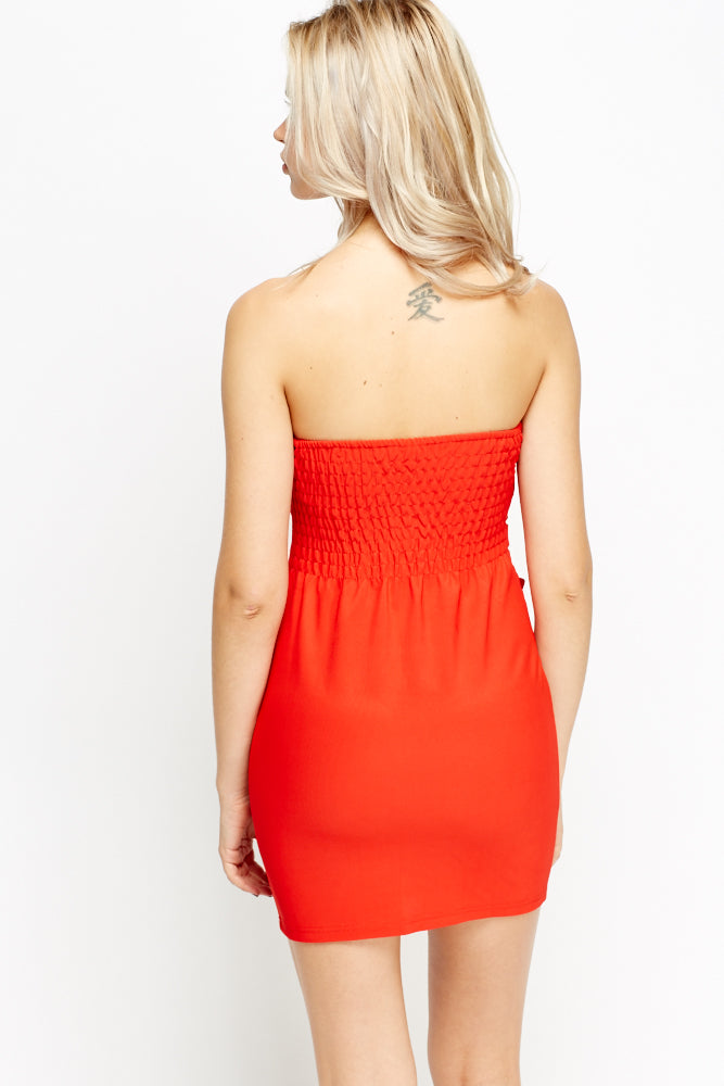 Penny Bow Design Mini Bandeau Dress - woven-trends