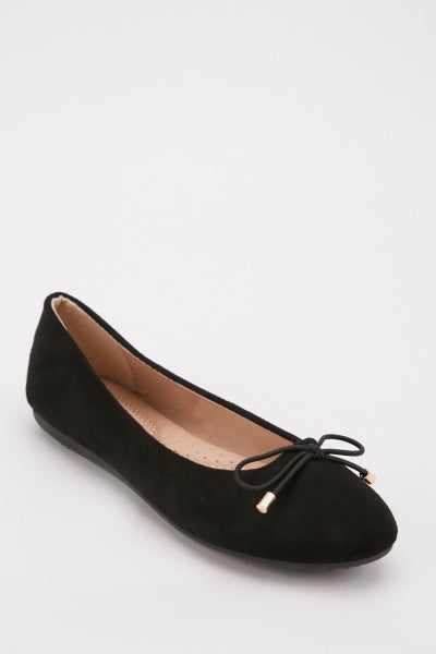 Bow Tie Design Front Suedette Ballet Pump Shoes-Woven Trends