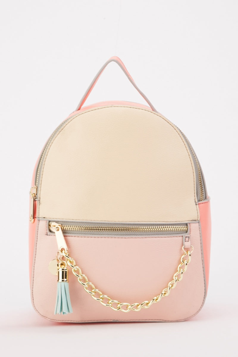 Chain Strap Design Tassel Detail Backpack