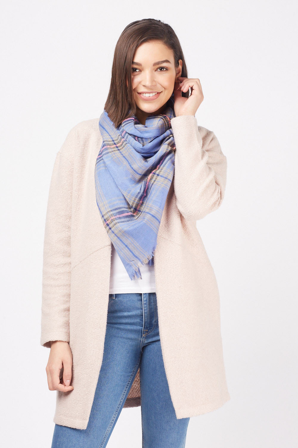 Amy Check Print Sheer Scarf - Woven Trends