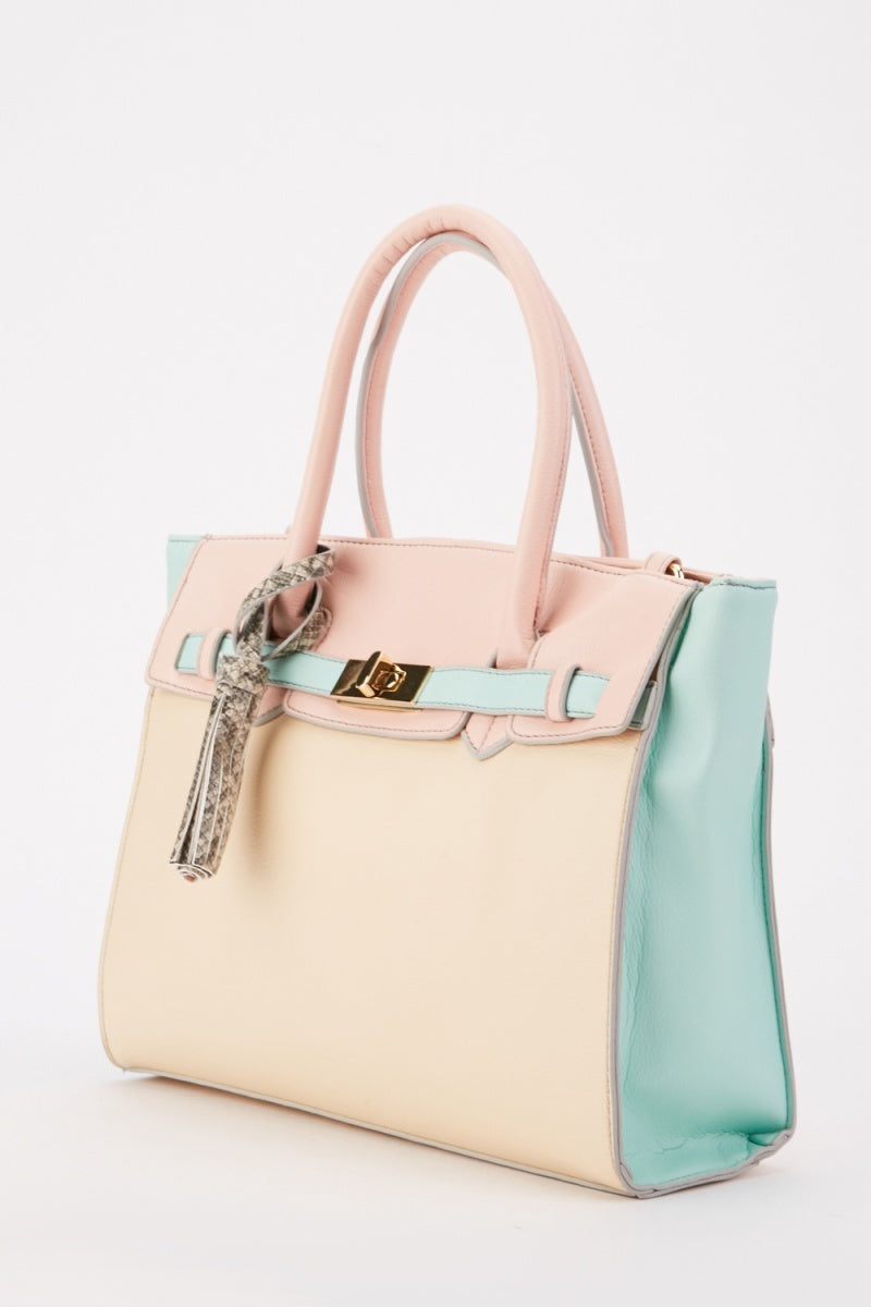 Snake Print Color Block Tote Handbag
