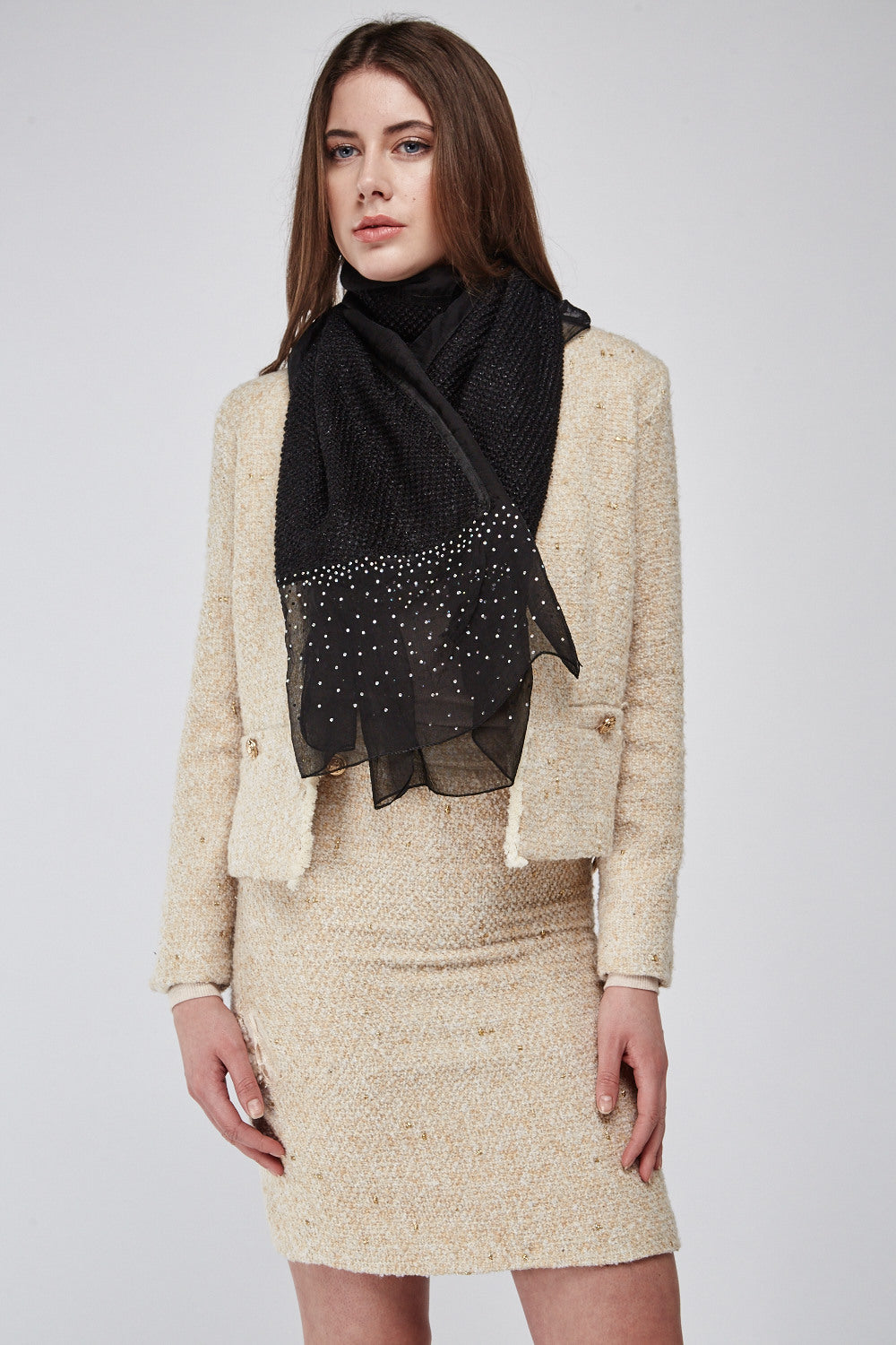 Abena Contrast Tones Knit Scarf - Woven Trends