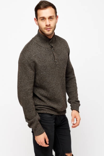 Button Neck Knitted Jumper - High Neck Knitted Jumper Men's Clothing - Woven Trends Fashion Collection