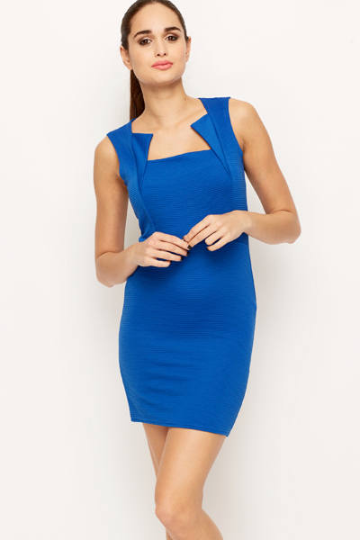 Textured Feel Pattern Bodycon Dress - woven-trends