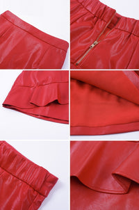 High Waist Ruffle Mini Skirt - Red High Waist Mini Skirt Woven Trends