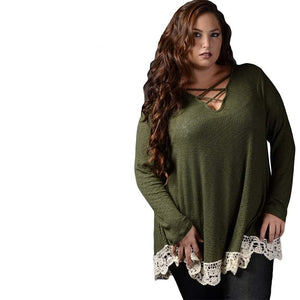 Crochet Trim Long Sleeved Plus Size Top Woven Trends