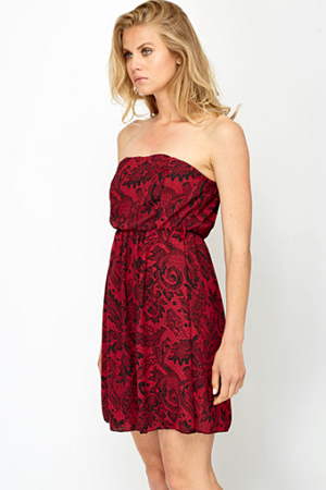 Contrast Lace Print Bandeau Dress Woven Trends