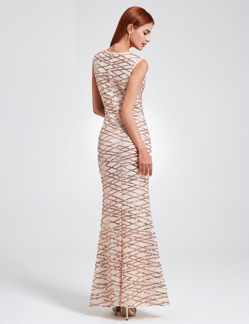 Sparkling Sequin Detail Evening Maxi Dress - Mermaid Style Pretty Chic Sleeveless Dress